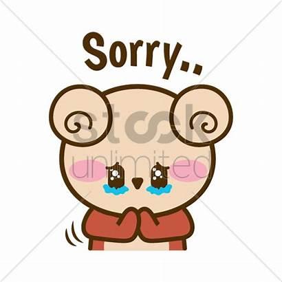 Cartoon Feeling Bear Sorry Vector Sad Clip