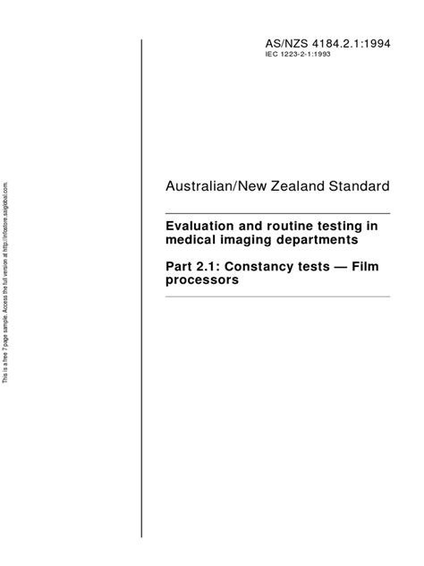 AS NZS 4184.2.1-1994 Evaluation and routine testing in