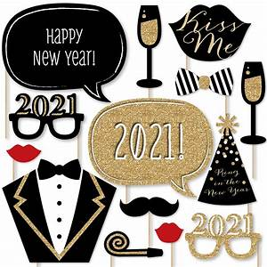 New Years Eve Party - Gold - 2021 New Year's Photo Booth Props Kit - 20 Count - Walmart.com ...