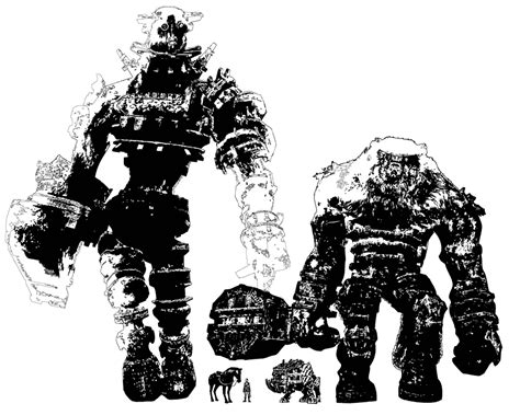 Colossus Comparison Sketch Video Games Artwork