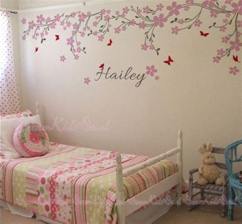 Nursery Wall Decal Baby Girl And Name Wall Decals Cherry
