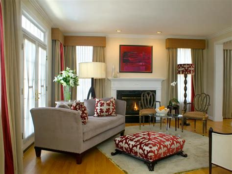 Neutral Living Room With Coordinating Red Accents HGTV