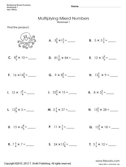 multiplying mixed numbers worksheets 1 and 2