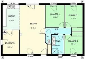 construction 86fr gt plan maison ossature bois plain pied With plan de maison plain pied gratuit 3 chambres sans garage