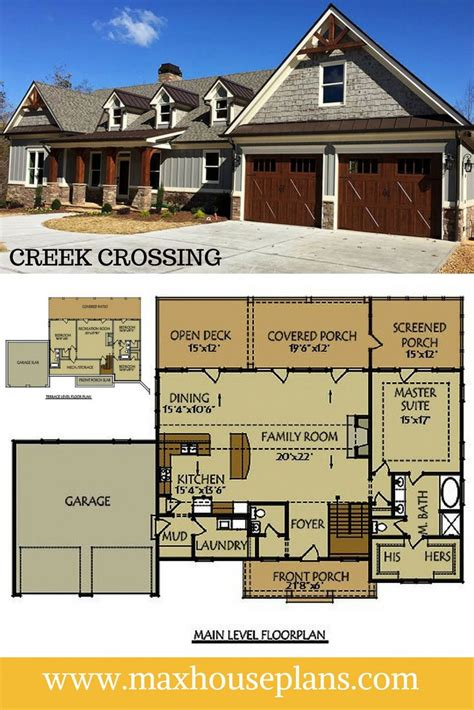 creek crossing    bedroom floor plan ranch house plan   walkout basement  ample