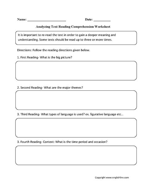 reading comprehension worksheets analyzing text reading