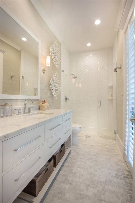 long beach style bathroom  carrera marble brick tile