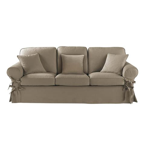 canape 3 places canap 233 3 places en coton taupe butterfly maisons du monde