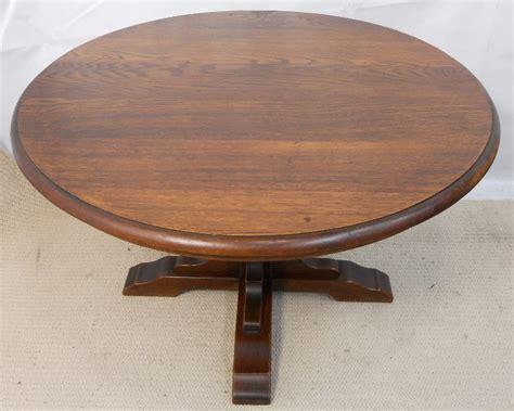 round pedestal coffee table round solid oak pedestal coffee table sold