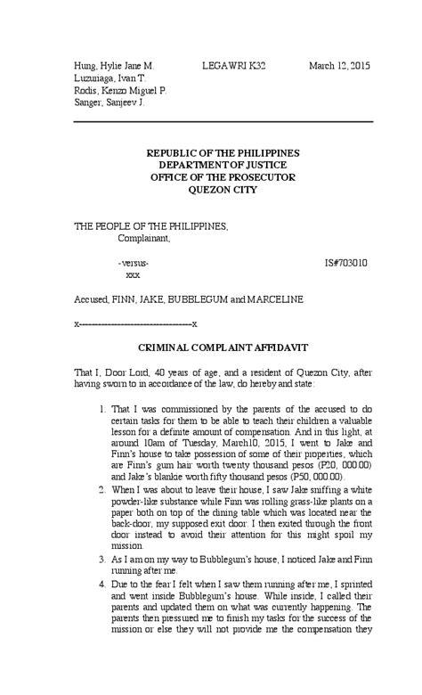 (PDF) Sample complaint affidavit with captions | Juan