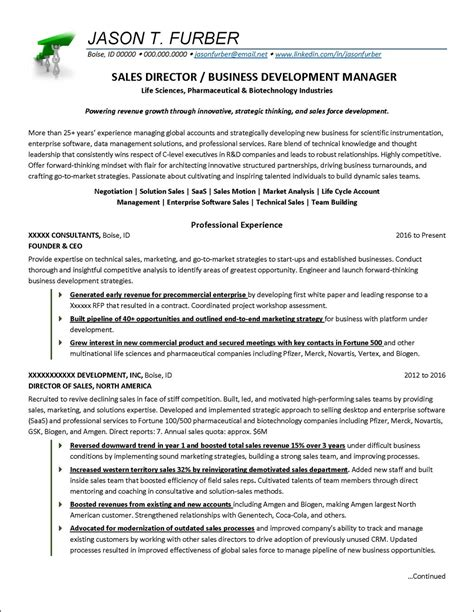 Business Development Sales Manager Resume by Business Development Manager Resume Exle Distinctive