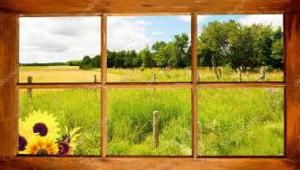 country farm house plans summer country view through window stock photo