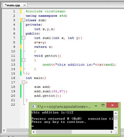 From wikipedia, the free encyclopedia. Encapsulation in C++ programming language - Code for Java c
