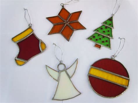 stained glass christmas ornaments suncatchers set of 5