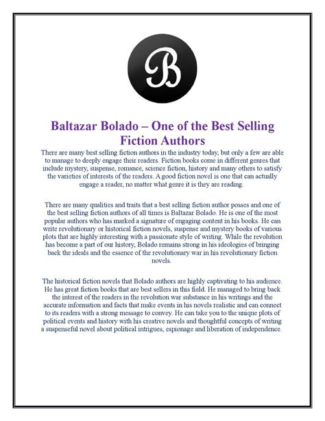 Best Selling Fiction Authors by Baltazar Bolado One Of The Best Selling Fiction Authors