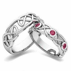 my love matching wedding band in 18k gold celtic ruby With matching celtic wedding rings