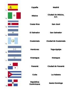 matching game  spanish speaking flags capitals