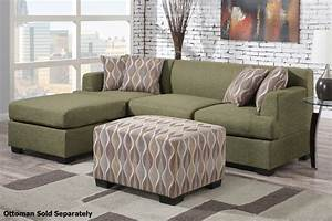 Montreal ii green fabric sectional sofa steal a sofa for Sectional sofa bed montreal