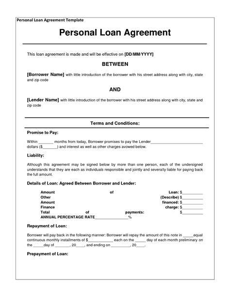 printable loan contract template form generic