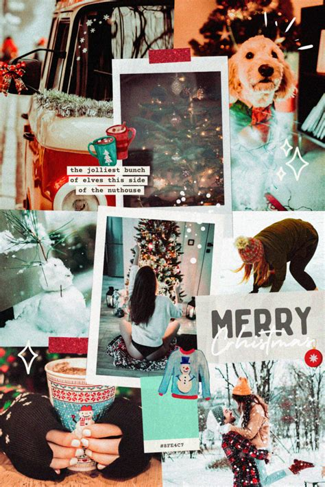 Mint Cocoa Xmas Aesthetic Drag And Drop Canva Collage