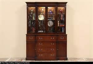Henredon Walnut China Cabinet by Sold Saginaw Traditional Breakfront China Cabinet Or