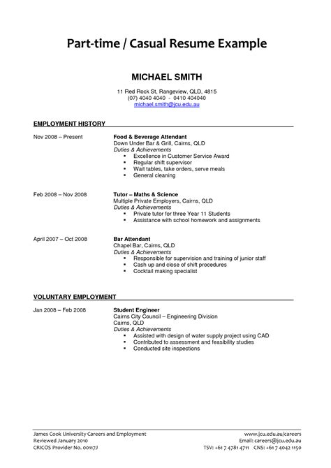 Cv Exles Student Part Time by Part Time Resume Exles 2018 Resume Exles 2018
