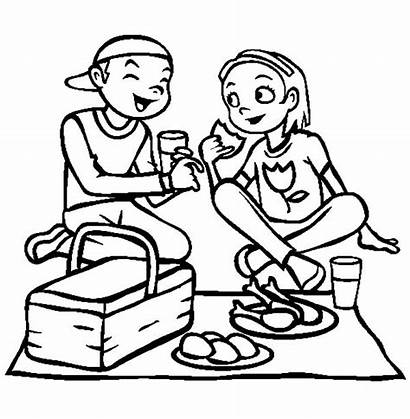 Picnic Coloring Eating Lunch Pages Girlfriend Drawing