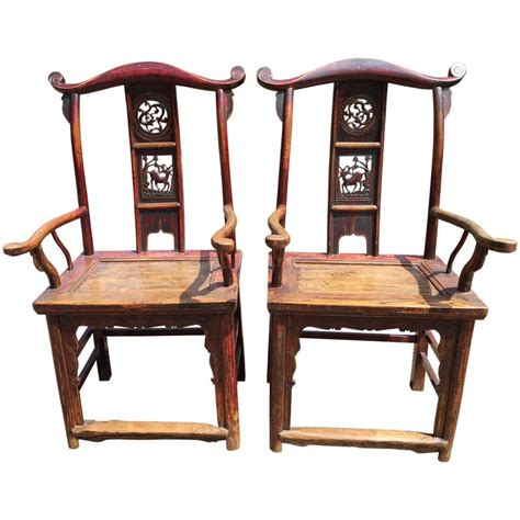 antique pair scholar chairs qing dynasty 19th