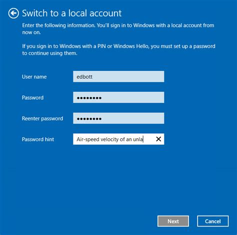 windows 10 tip switch back to a local account from a