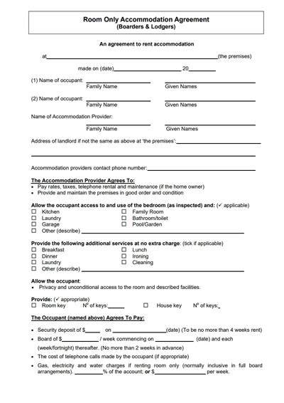 lease agreement  renting  room   house charlotte