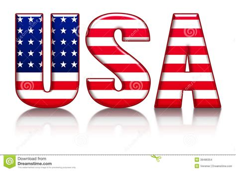 Letter Usa by Usa Letters Word With Flag Background Stock Illustration