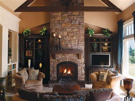 Indoor  Classic Design Of Indoor Stone Fireplace Wall