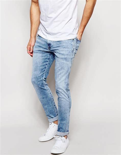 light blue jeans mens slim fit lyst replay jeans hyperflex anbass slim fit comfort