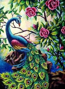 Pretty Peacock Painting by Sebastian Pierre