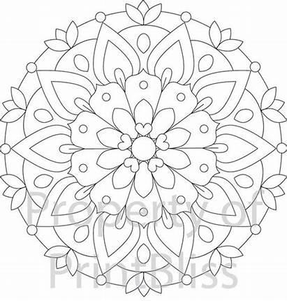 Mandala Printable Flower Coloring Pages Mandalas Adult