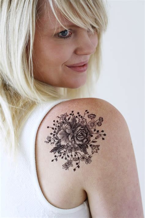 large vintage black  white floral temporary tattoo
