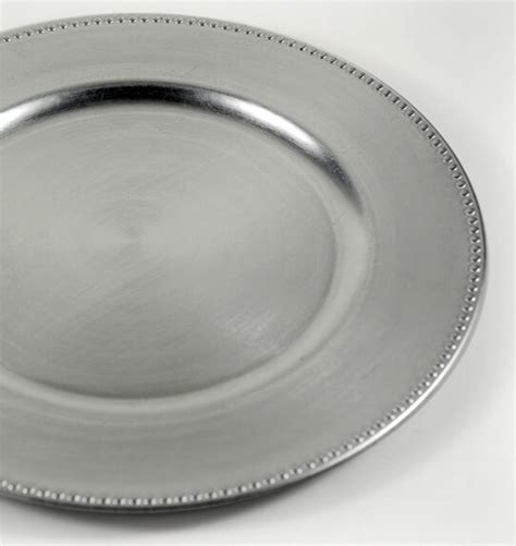 charger plates silver  beaded edge