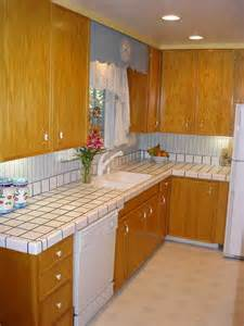 White Kitchen Countertops with Tile