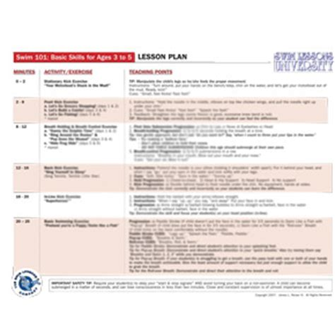 Swimming Lesson Plan Template by Laminated Lesson Plan For Swim 101