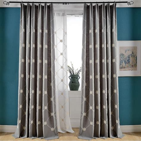 Bedroom Curtains On Sale by Gray Floral Embroidery Linen Cotton Blend Country Curtains