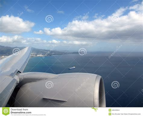 Aerial High In The Sky Shot Of Window View Of Plane