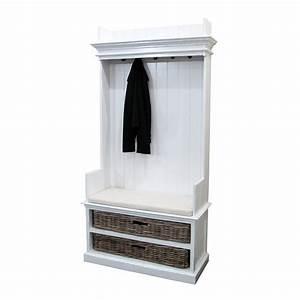 Vestiaire blanc en bois massif Torini : meuble d'entrée