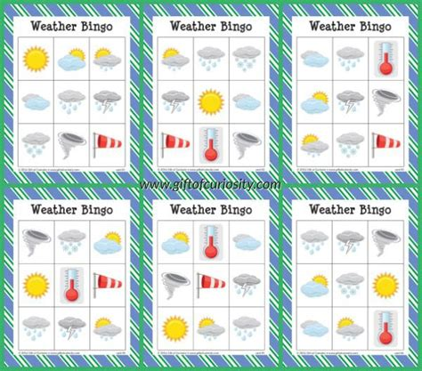 printable weather bingo  printables