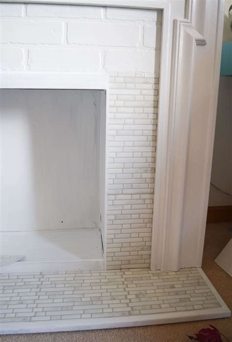easy peel  stick tile fireplace surround makeover
