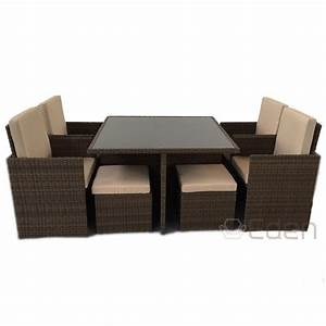 8 seater 9 piece brown rattan cube dining glass table for Rattan garden furniture seat covers