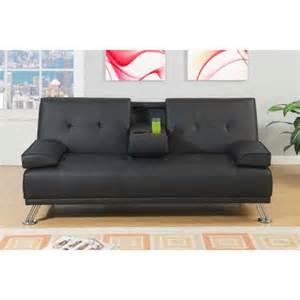 black faux leather adjustable sofa bed futon walmart com