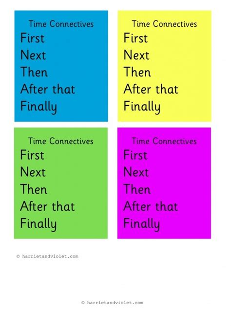 time connectives conjunctions printable teaching