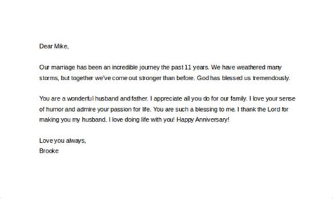 sweet anniversary letter to husband 11 letter templates to my husband doc free 25003