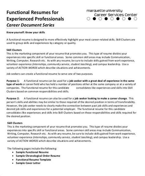 sample functional resumes functional resume template
