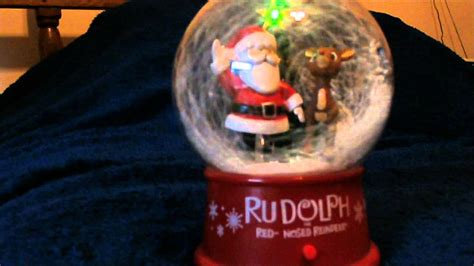 gemmy animated rudolph  santa snow globe christmas
